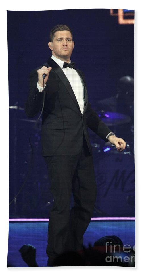 Photos For Sale Bath Sheet featuring the photograph Singer Michael Buble by Concert Photos