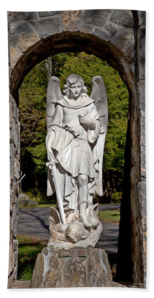 Angel Hand Towel featuring the photograph Michael Defeats Lucifer by Terry Reynoldson
