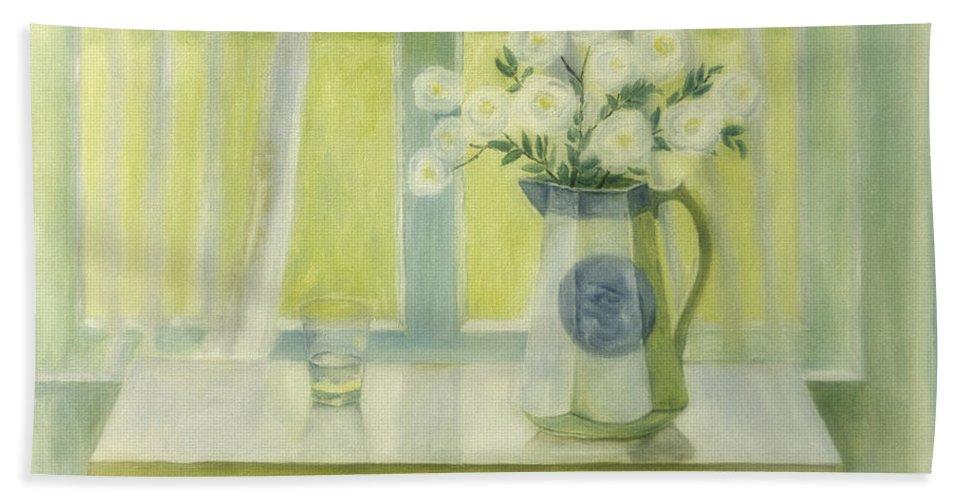 Art Bath Sheet featuring the painting Midsummer Roses by Veikko Suikkanen