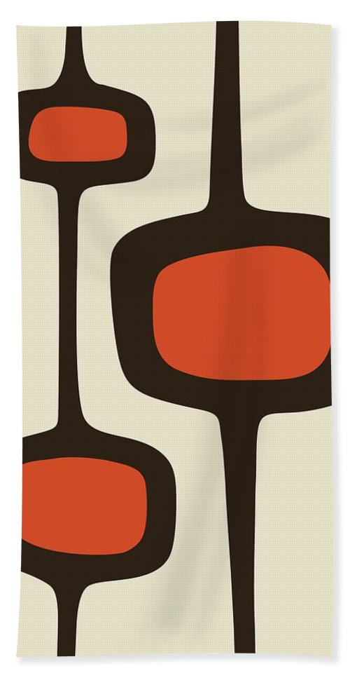 Brown Hand Towel featuring the digital art Mod Pod Two Orange With Brown by Donna Mibus