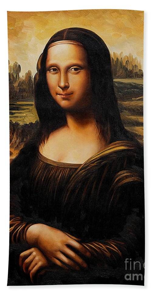 Mona Paintings Hand Towel featuring the mixed media Mona Lisa by Marvin Blaine