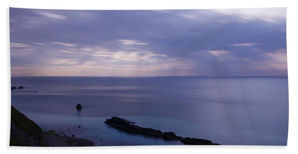 Man Of War Bay Bath Sheet featuring the photograph Moonlight Over Man Of War Bay by Ian Middleton