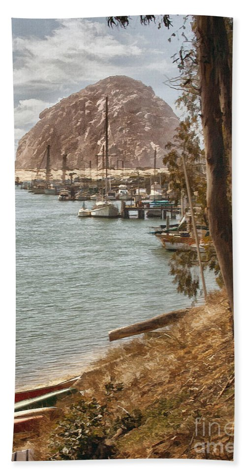 Morro Rock Bath Towel featuring the photograph Morro Rock Reflection by Sharon Foster