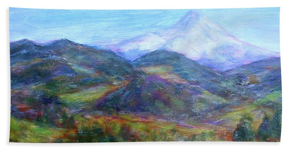 Quin Sweetman Paintings Hand Towel featuring the painting Mountain Patchwork by Quin Sweetman