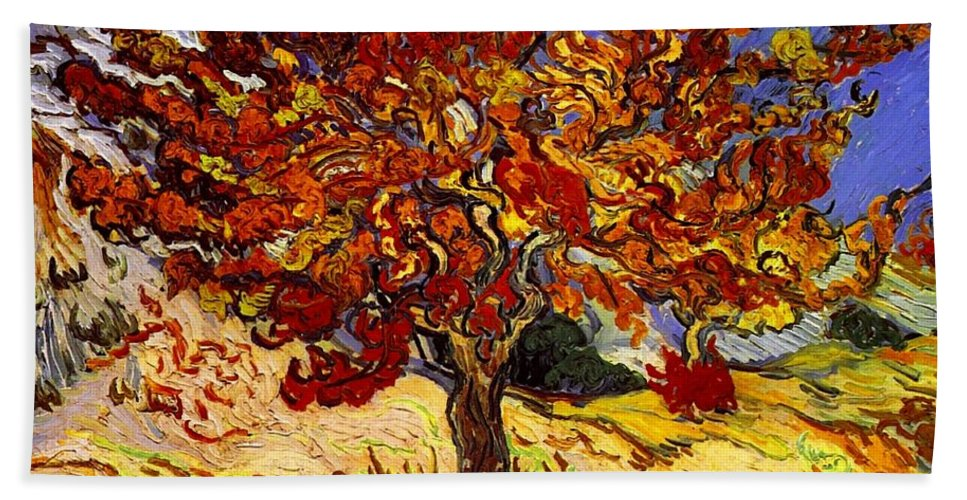 Vincent Van Gogh Hand Towel featuring the painting Mulberry Tree by Vincent Van Gogh