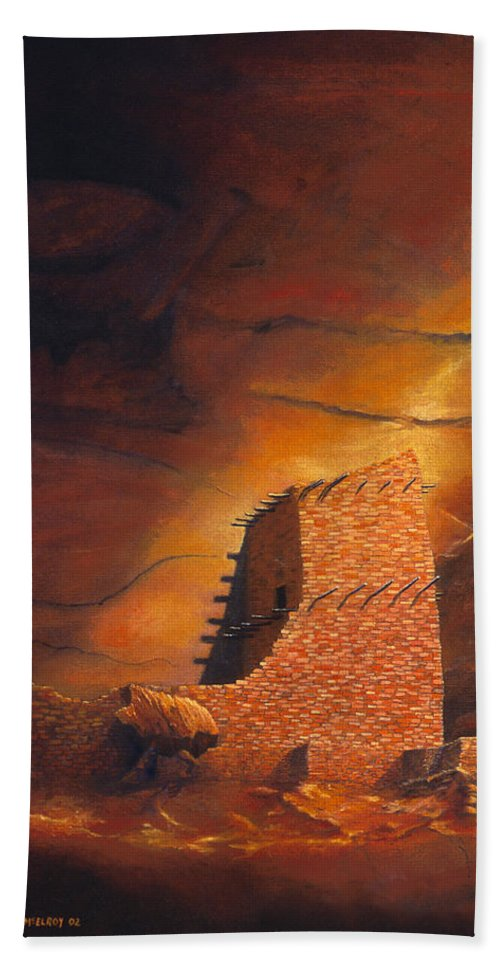 Mummy Cave Ruins Hand Towel featuring the painting Mummy Cave Ruins by Jerry McElroy