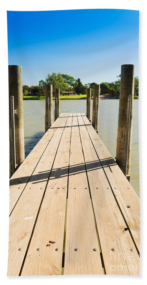 Outdoor Hand Towel featuring the photograph Murray River Jetty by Tim Hester