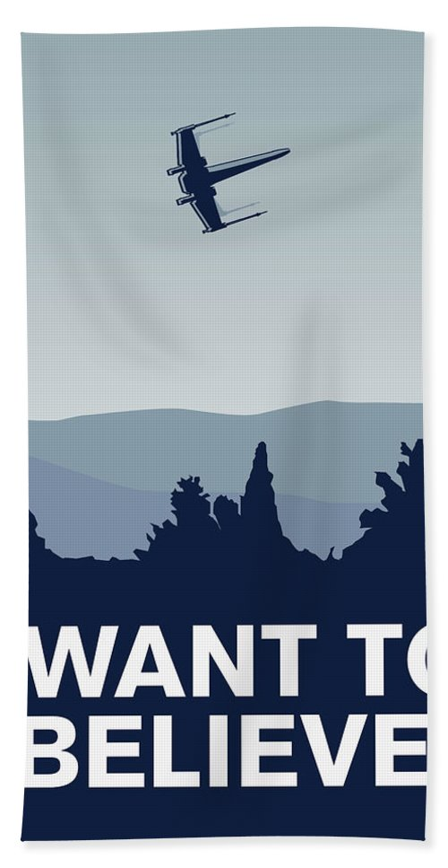 Classic Hand Towel featuring the digital art My I Want To Believe Minimal Poster-xwing by Chungkong Art