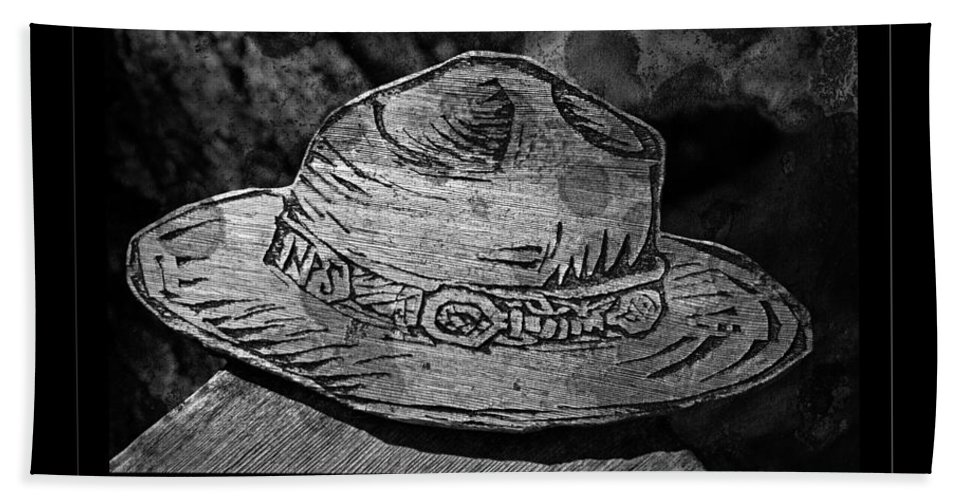 Black And White Bath Sheet featuring the photograph National Park Service Ranger Hat Black And White by John Stephens