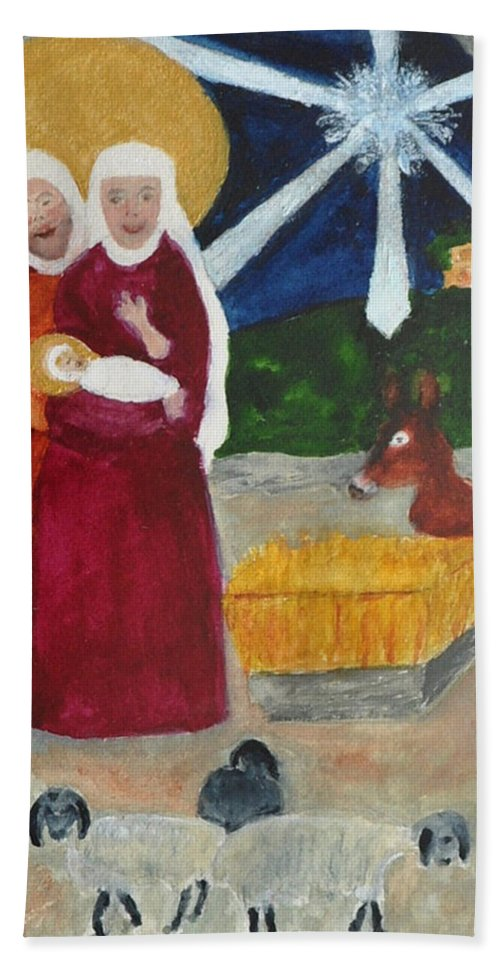 Nativity Hand Towel featuring the painting Nativity by Phyllis Brady