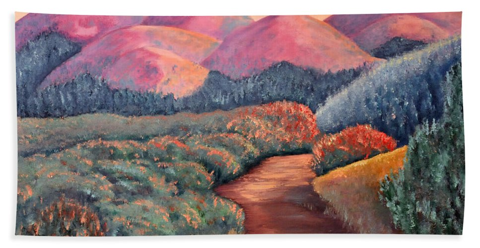 Landscape Bath Sheet featuring the painting Natures Path by Barney Napolske