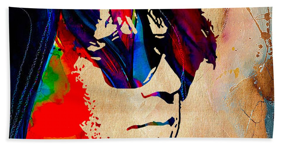 Neil Young Hand Towel featuring the mixed media Neil Young Collection by Marvin Blaine