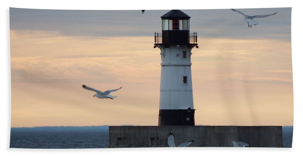 Lighthouses Hand Towel featuring the photograph New Beginnings by Alison Gimpel