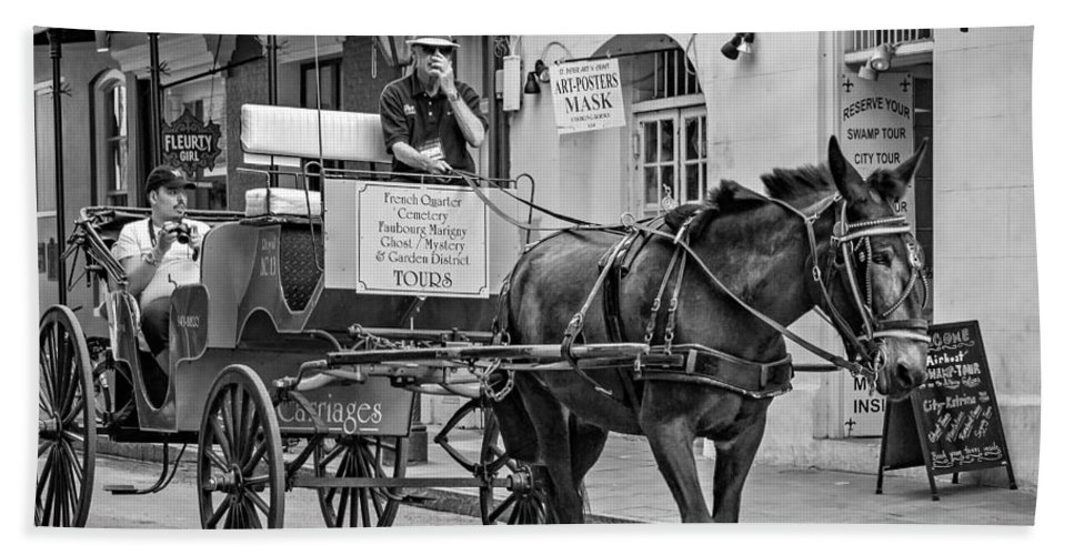 French Quarter Hand Towel featuring the photograph New Orleans - Carriage Ride Bw by Steve Harrington