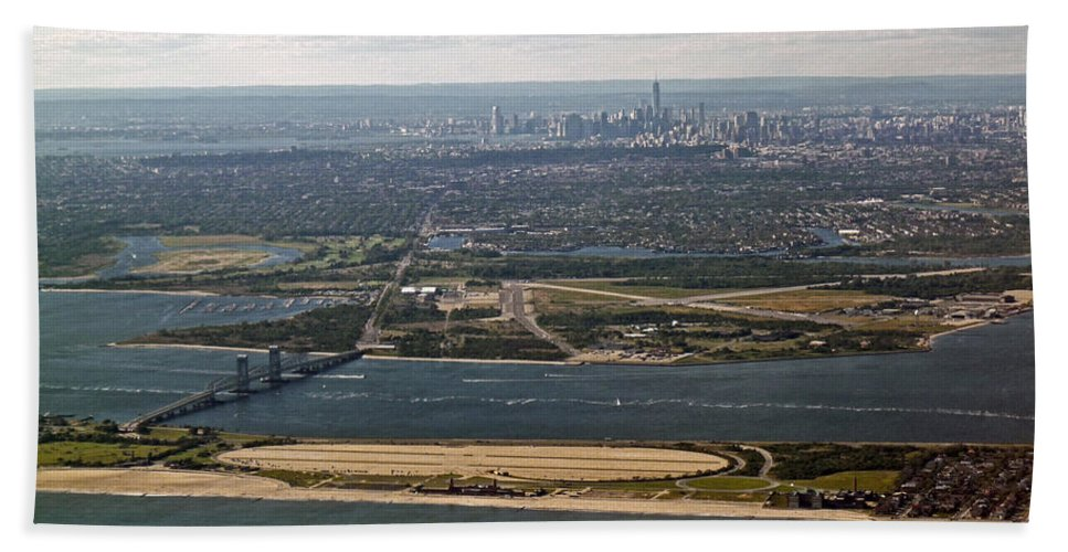 Aerial Hand Towel featuring the photograph New York City by Howard Stapleton