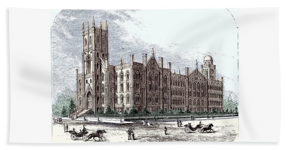 New York Hand Towel featuring the digital art New York City Normal College - 1870 by John Madison