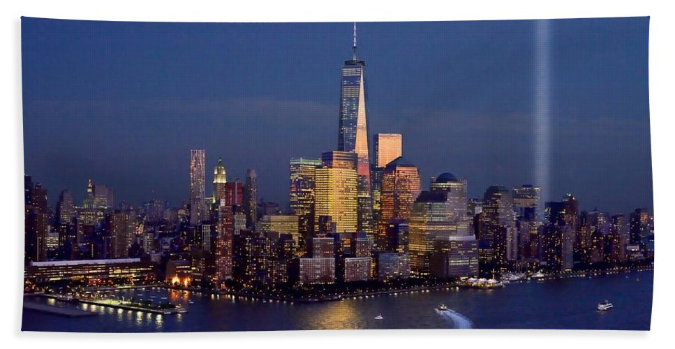 New York City Skyline Night Hand Towel Featuring The Photograph New York  City Tribute In Lights