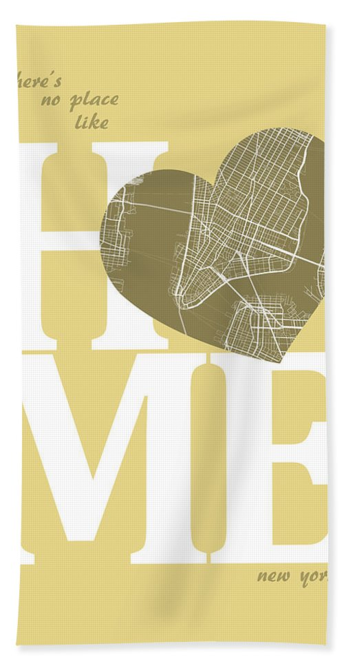 Road Map Bath Sheet featuring the digital art New York Map Home Heart - New York City New Yorkroad Map In A He by Jurq Studio
