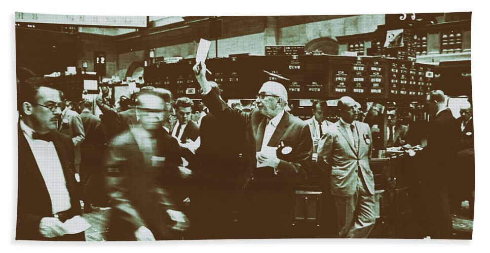 1963 Bath Sheet featuring the photograph New York Stock Exchange 1963 by Mountain Dreams