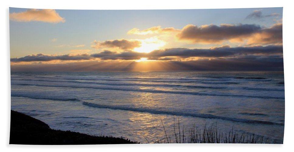 Sunset Bath Sheet featuring the photograph Newport Oregon Sunset by Athena Mckinzie