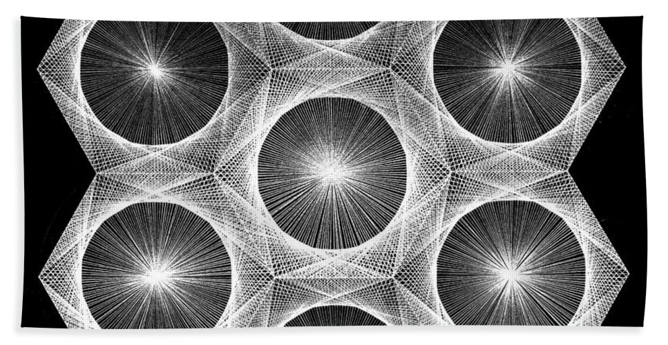 Fractal Bath Sheet featuring the drawing Nuclear Fusion by Jason Padgett