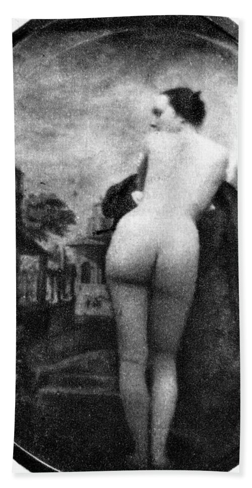 1843 Hand Towel featuring the photograph Nude Posing: Rear View by Granger