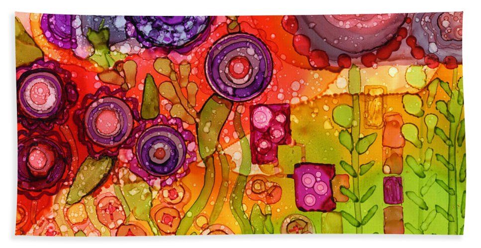 Abstract Bath Sheet featuring the painting Number I by Vicki Baun Barry
