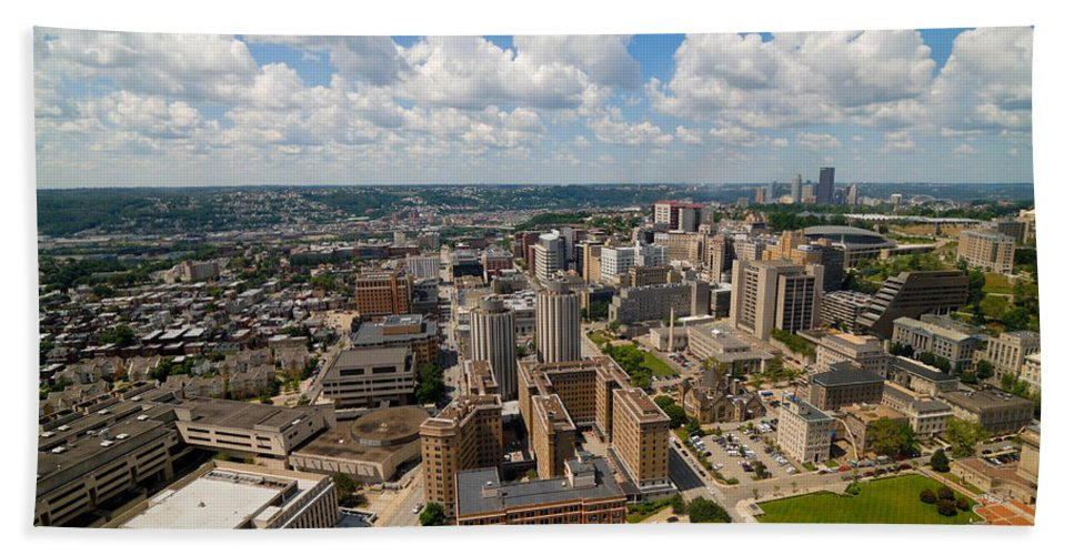Aerial View Hand Towel featuring the photograph Oakland Pitt Campus With City Of Pittsburgh In The Distance by Amy Cicconi