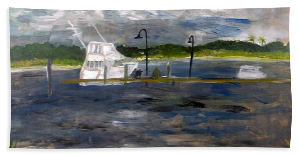 Boat Hand Towel featuring the painting Ocean Inlet Marina by Donna Walsh