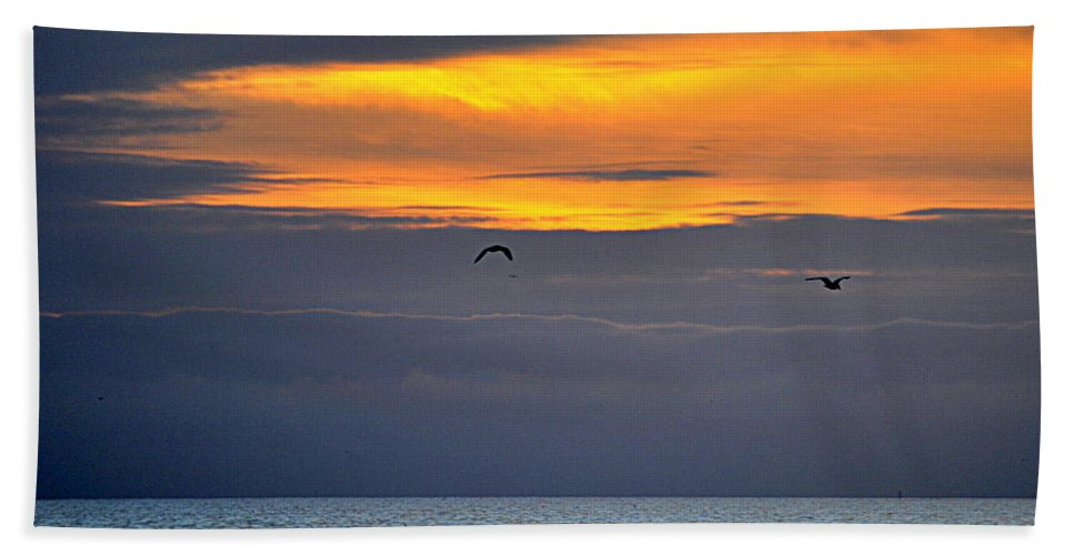 Scenic Hand Towel featuring the photograph Ocean Sunset by AJ Schibig