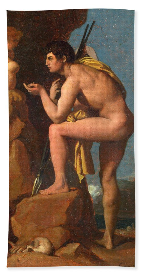 Jean-auguste-dominique Ingres Hand Towel featuring the painting Oedipus And The Sphinx by Jean-Auguste-Dominique Ingres