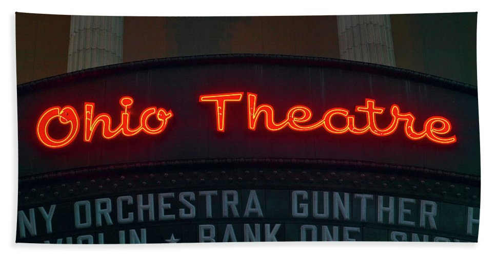 Photography Bath Sheet featuring the photograph Ohio Theater Marquee Theater Sign by Panoramic Images