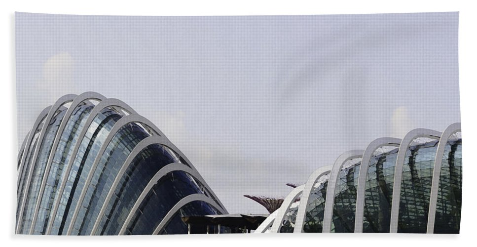 Asia Bath Sheet featuring the digital art Oil Painting - Both Of The Conservatories Of The Gardens By The Bay In Singapore by Ashish Agarwal