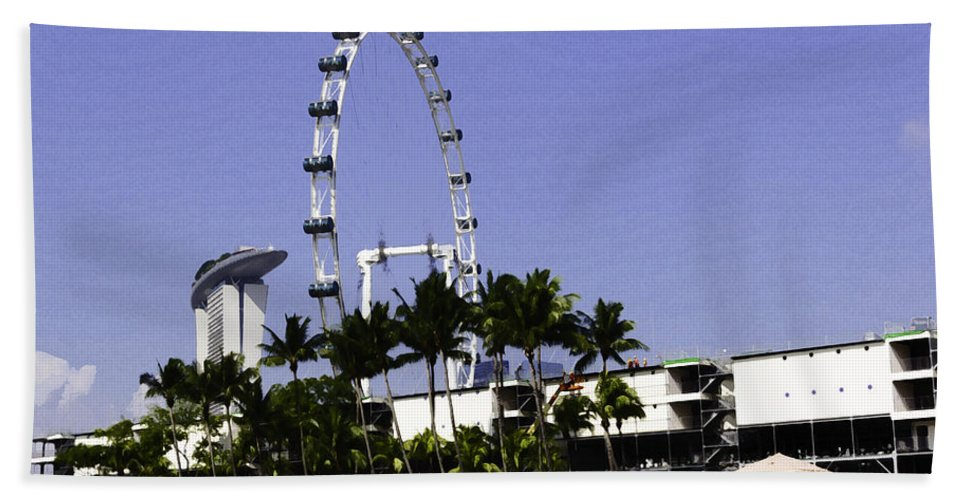 Action Bath Sheet featuring the digital art Oil Painting - Preparation Of Formula One Race With Singapore Flyer And Marina Bay Sands by Ashish Agarwal