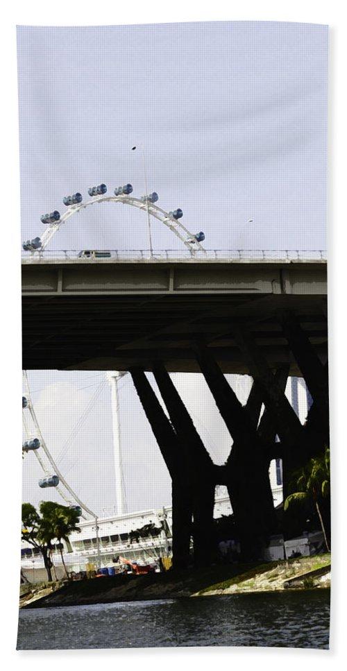 Asia Bath Sheet featuring the digital art Oil Painting - Span Of The Benjamin Sheares Bridge With Its Pillars In Singapor by Ashish Agarwal