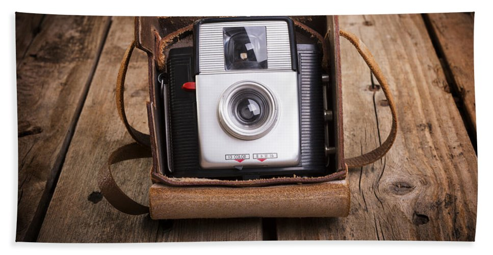 Camera Hand Towel featuring the photograph Old Camera by Tim Hester