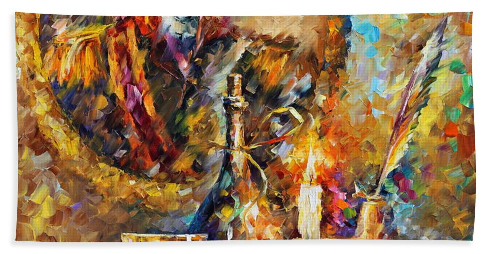 Afremov Hand Towel featuring the painting Old General by Leonid Afremov