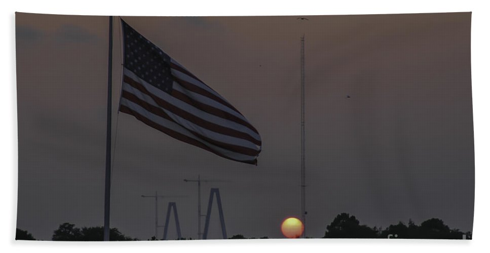 Shem Creek Bath Sheet featuring the photograph Old Glory Sunset by Dale Powell