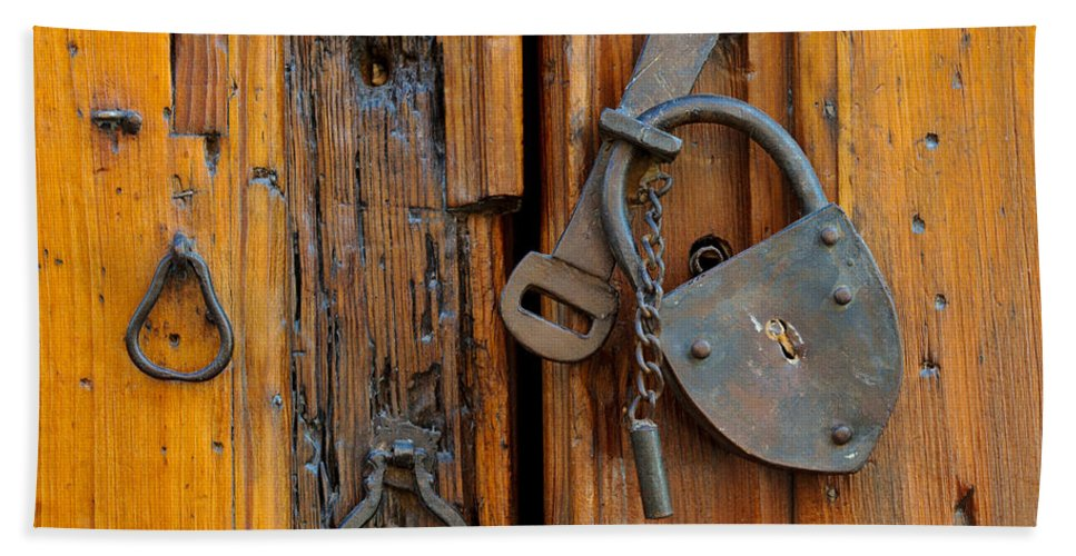 Travel Hand Towel featuring the photograph Old Lock, Mexico by John Shaw