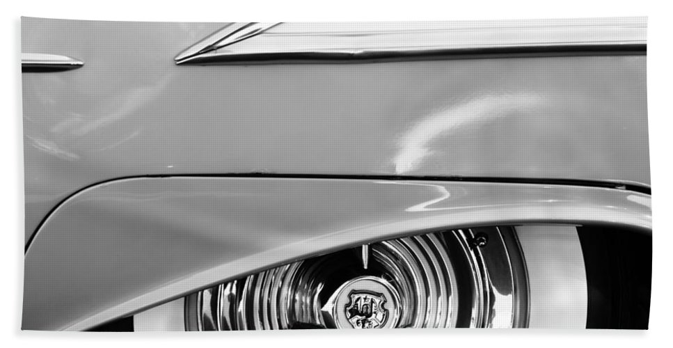 Oldsmobile 98 Wheel Emblem Bath Sheet featuring the photograph Oldsmobile 98 Wheel Emblem by Jill Reger