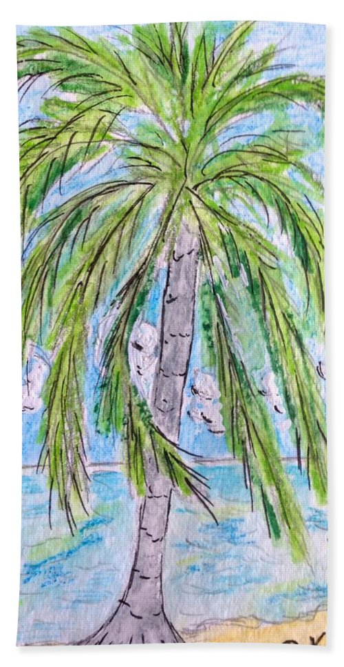 Beach Bath Sheet featuring the painting On The Beach by Kathy Marrs Chandler