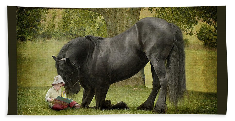 Friesian Bath Towel featuring the photograph Once Upon A Time by Fran J Scott