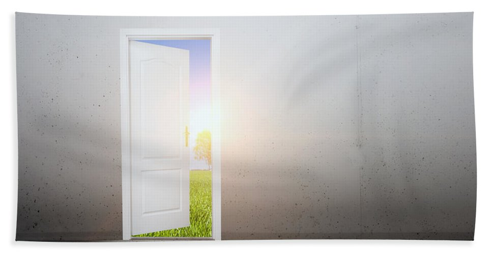 Door Hand Towel featuring the photograph Open Door To A New World by Michal Bednarek