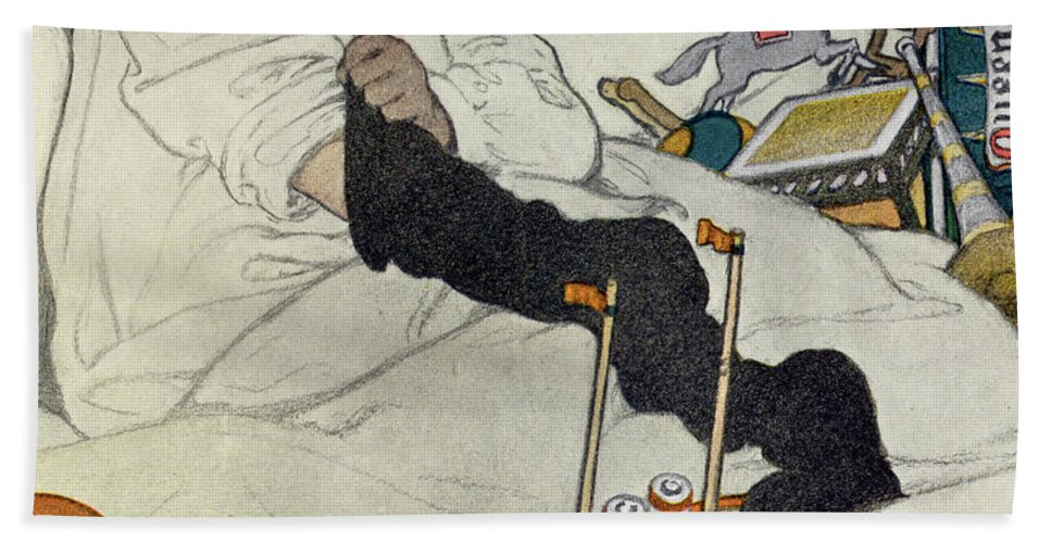 Christmas Hand Towel featuring the painting Opening The Christmas Stocking by Jessie Willcox Smith