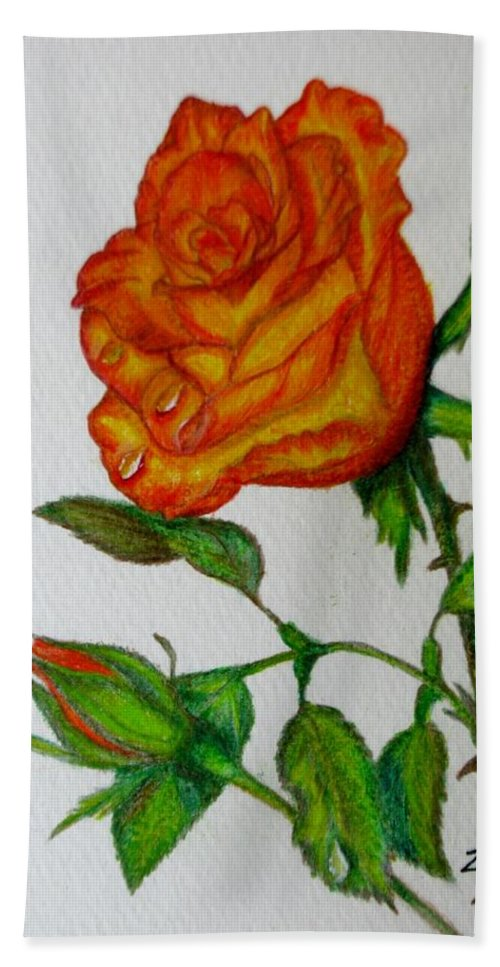 Roses Bath Sheet featuring the drawing Orange Rose by Zina Stromberg