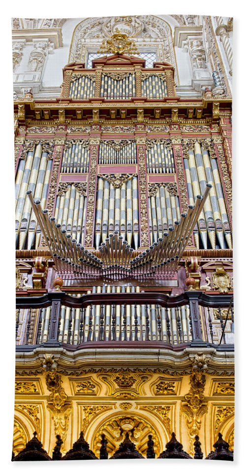 Cordoba Hand Towel featuring the photograph Organ In Cordoba Cathedral by Artur Bogacki