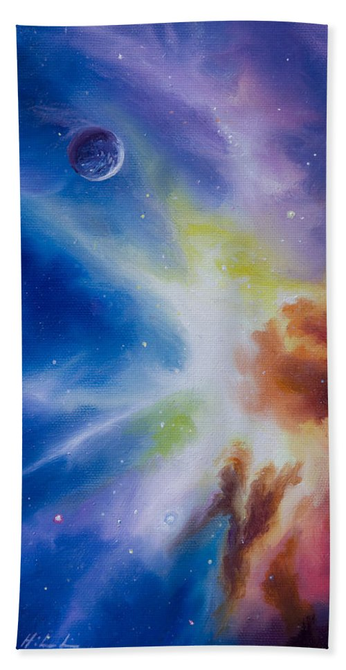 James Christopher Hill Hand Towel featuring the painting Origin Nebula by James Christopher Hill
