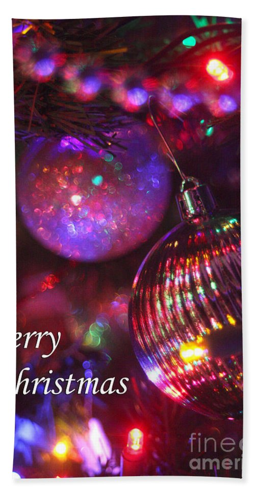 Merry Christmas Bath Sheet featuring the photograph Ornaments-2160-merrychristmas by Gary Gingrich Galleries