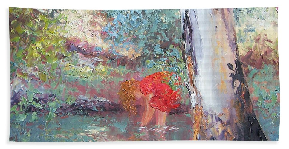 Gum Trees Hand Towel featuring the painting Paddling In The Creek by Jan Matson