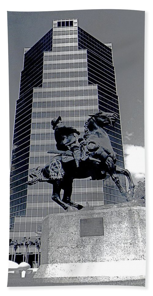Pancho Villa Statue Downtown Tucson Arizona 1988 Bath Sheet featuring the photograph Pancho Villa Statue Downtown Tucson Arizona 1988-2008 by David Lee Guss